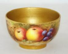 Royal Worcester Signed Sugar Bowl with Fallen Fruits Decoration c.1915, Artist Signature 'Roberts' . Factory marks to base. Height 5cm