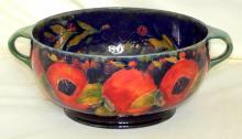 Moorcroft Two Handled Bowl with Pomegranate Decoration on Blue Ground, Signed & Factory Marks to Base. Height 4.75 inches, Diameter 12 inches.