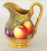 Royal Worcester Signed Cream Jug with Fallen Fruits Decoration c.1934, Artist Signature 'Ayrton' . Factory marks to base. Height 10cm
