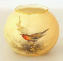 Royal Worcester Bulbous Blush Ivory Vase with Bird Decoration c.1914. Factory marks to base. Height 7cm
