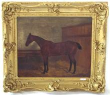 F. Clifton (British, 1830?1898)  'Chestnut Horse in Stable' Oil on Canvas. Signed F.Clifton and Dated 1880 Lower left. Period frame 60 x 50 cm.