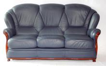 Italian Navy Leather 3 Seat Sofa. Height 37 in.. Width 73 in.  Depth 37 in. Nearly new.