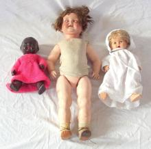 Antique Heubach & Koppelsdorf Bisque Doll. Circa 1900.Having weighted sleeping porcelain eyes, open mouth and a jointed body,No. 342.10. Length 68cm. Requires dolls hospital but no major surgery!!! Also 2 English 1950s Dolls. (3 Items).