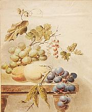 Peaches and Grapes on a Table