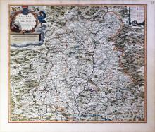 Visscher Map of Bavaria hand-colored by master colorist Jansz Van Santen