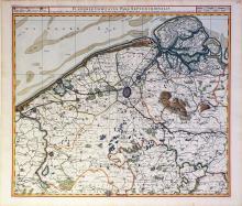 Visscher Map of Flanders hand-colored by master colorist Jansz Van Santen