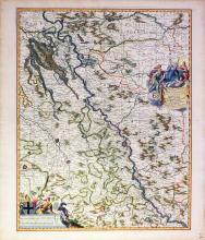 Visscher Map of Germany hand-colored by master colorist Jansz Van Santen