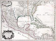Carte du Mexique et de la Floride des Terres Angloises et des Isles Antilles du Cours et des Environs de la Riviere de Mississipi.