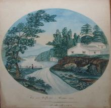 A pair of original watercolours: Rapids above Headley Falls - Hudson River; View near Poughkeepsie - Hudson River