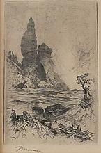 Moran Etching of Tower Falls, Yellowstone, 1880