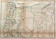 Lithographed Map of Oregon, 1866