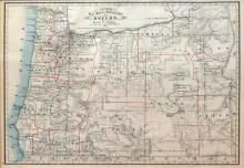 Cram's Lithographed Map of Oregon, 1881