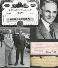 Henry Ford II Autographed Check dated 1976 with Press Photos.
