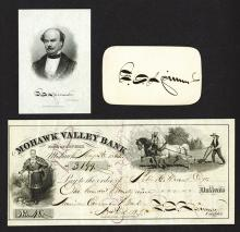 Francis Spinner Group. Intaglio portrait, check and card autograph.