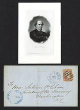 Salmon P. Chase ABNC vignette and stamped envelope.