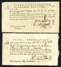 Connecticut Pay-Table office voucher, 1781 and 1782