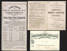 Pittsburgh & Lake Erie RR Co. 1884 pass proof; 1878 and 1881 timetables from other routes.