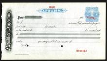 Republica Argentina 1881 Specimen Fiscal document.