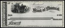 Montreal, Canada, 189x, Proof check printed in black on light gray with blank back, woman pouring glass of water for horseman while horse drinks from trough on upper left, check belongs to account of James Johnston & Co., POC's, CU condition. British American BNC.