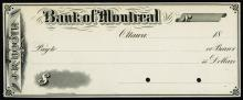 Montreal, Canada, 18xx (1880-90), Proof check printed in black on white paper with blank back, no vignette, check belongs to account of J.R. Booth, POC's, Uncirculated condition with mounting evidence on back 4 corners. British American BNC.