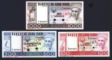 Banco de Cabo Verde. 1977 Specimen Issues, 100, 500, 1000 Escudos. All Specimens. Pick #54s, 55s, 56s.