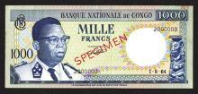 Banque Nationale du Congo, 1961 Issue.