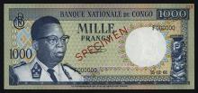 Banque Nationale Du Congo, 1000 Francs, 1961 Issue Specimen.