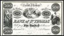 Bank of St.Thomas, 18xx (ca.1840-50's) Proof Banknote.