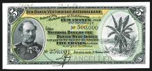 National Bank of the Danish West Indies 1905 Specimen Banknote.