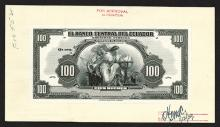 El Banco Central del Ecuador. 1939.  Black and White Proof on India paper mounted on card.