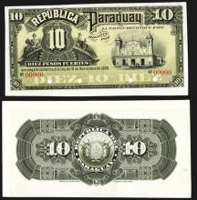 Republica Del Paraguay, 1899 Issue Proof Banknote.