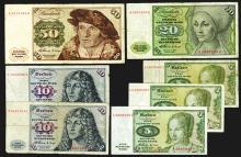 Deutsche Bundesbank, 1960. 5, 10, 20, 50 Marks.