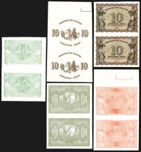 Kingdom of Greece (Resumed) - 1944 Issue Uncut Pairs.