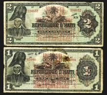 Banque Nationale de la Republique D'Haiti, 1919 Provisional Issue.