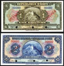 Banque Nationale De La Republique D'Haiti, ND (1925-32) Specimen Banknote Pair.