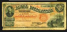 Aguan Navigation and Improvement Co., 1886 Issue Banknote.