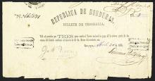 Republica De Honduras, Billete De Tesoreria, 1873 Issued Banknote.