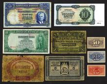 Latvian Government & Bank of Latvia Various Issues, Group of 9 Issued Banknotes