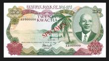 Reserve Bank of Malawi, 1964 (1983) Specimen Banknote.