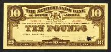 Netherlands Bank of South Africa Color Trial Specimen Banknote.