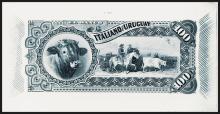 Banco Italiano Del Uruguay, Montevideo, 1887 Issue Proof Banknote Back.