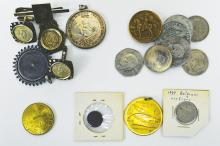 Chad. John F. Kennedy. 300 Fr. 1970 KM7, in pendant mount (Reported mintage of 504); Robert F. Kennedy. 100 Fr. 1970 KM#1 (3, 1 in a pendant mount others as cufflinks) (reported mintage of 975). Also includes a 1972 Munich Olympic medallion, some Mexican and other world coins, a FAO medal 1989 and a few other things. 20 pieces.