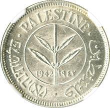 Palestine, 1942 50 Mils, NGC Graded MS 62.