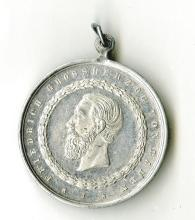 German States, Baden. Grand Duke Friedrich. 70th Birthday medal. 39mm Aluminum. 1896. Looped. Extremely Fine.