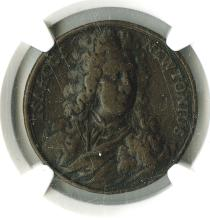 Great Britain. Death of Sir Isaac Newton. 1727. 32.6mm Copper. Reverse legend within floral wreath. Graded NGC F 15 BN.