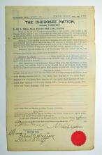 Cherokee National Indian Territory Allotment Deed.