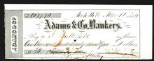 Adams & Co. 1854 Gold Rush Era Fiscal Document.