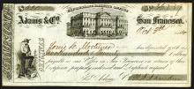 Adams & Co., 1854 Certificate of Deposit, Gold Rush Related Fiscal item.