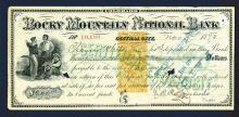 Rocky Mountain National Bank, 1872 Revenue Imprint RN-Q1 on Certificate of Deposit.