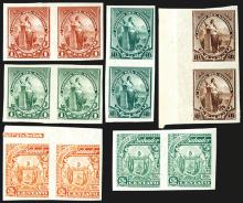 Correos Del Salvador, 1894 and 1895, Color Trial Proof Stamp Pairs From Hamilton BNC Archives - Not Reprints.